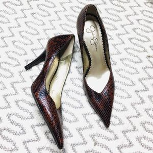 Jessica Simpson Brown Snake Skin Classic Heels
